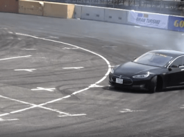 Nobuteru Taniguc drifting a Tesla Model S in Tokyo, Japan. MASUDA