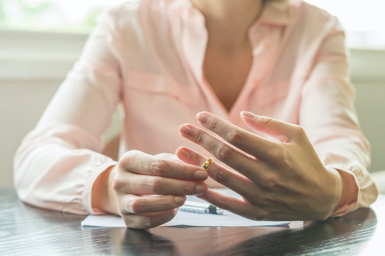Woman holding her wedding ring | Image: Shutterstock