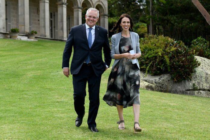 Australian Prime Minister Scott Morrison and New Zealand Prime Minister Jacinda Ardern | Photo: AAP/Bianca de Marchi