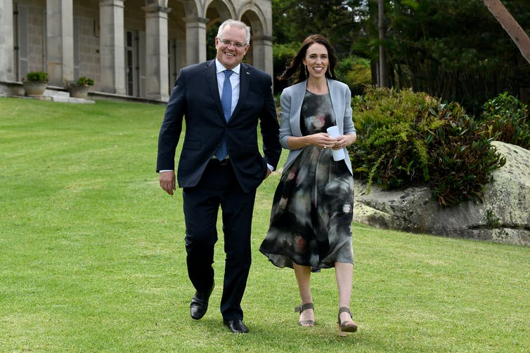 Australian Prime Minister Scott Morrison and New Zealand Prime Minister Jacinda Ardern   Photo: AAP/Bianca de Marchi