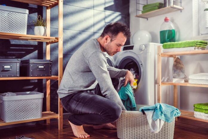 father doing household chores